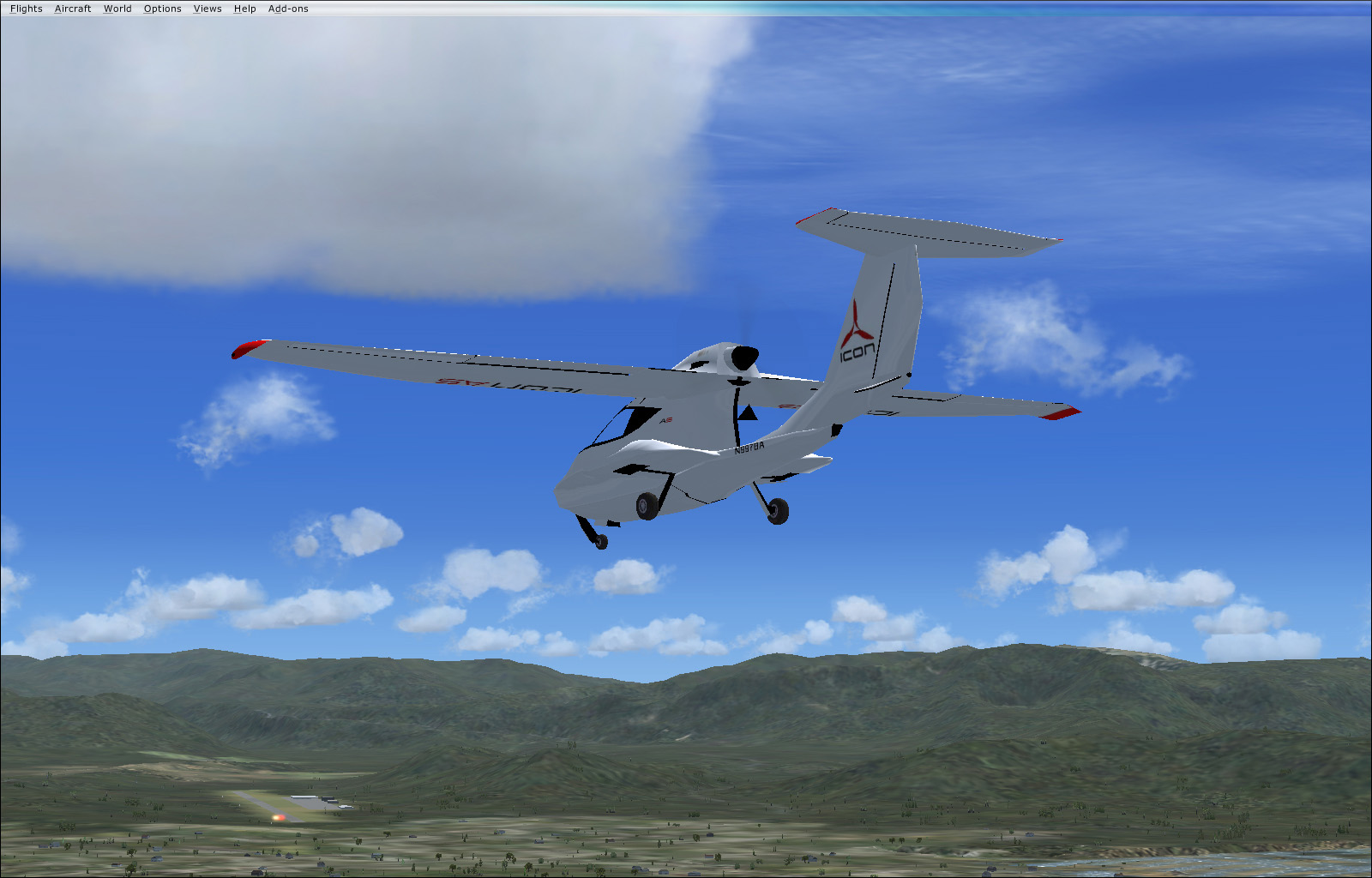 FSX - Icon A5, landing wheels down