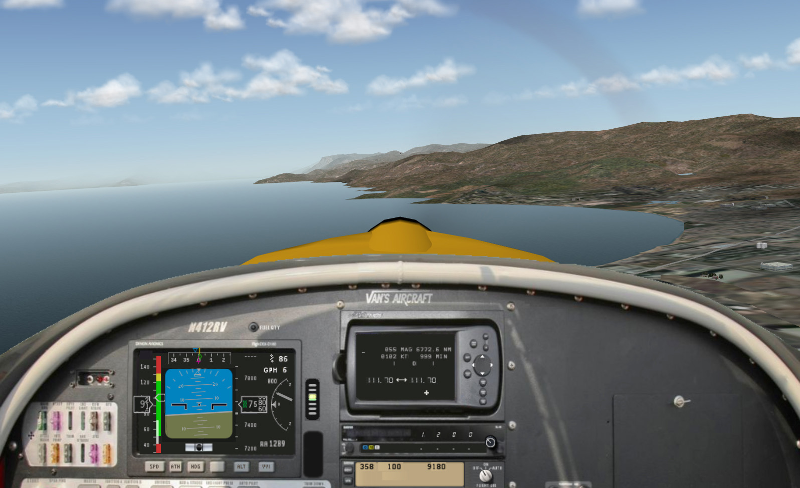 X-Plane - Van's RV12 Aircraft, POV front window