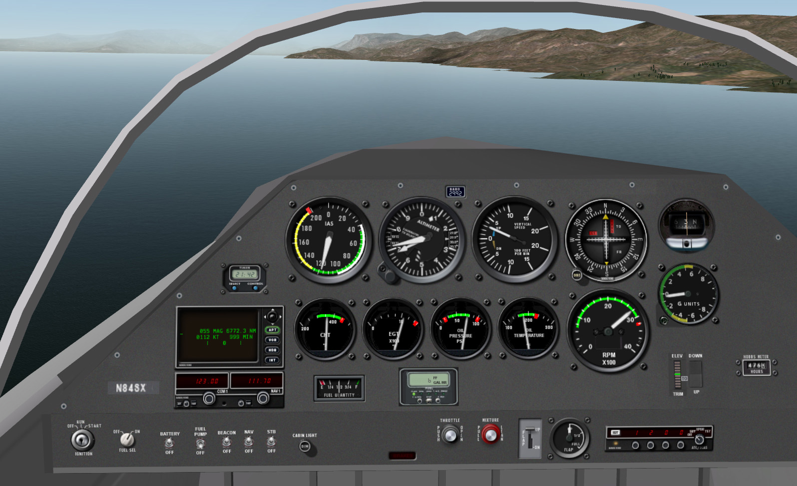 X-Plane - Sonex Airplane, instrument panel