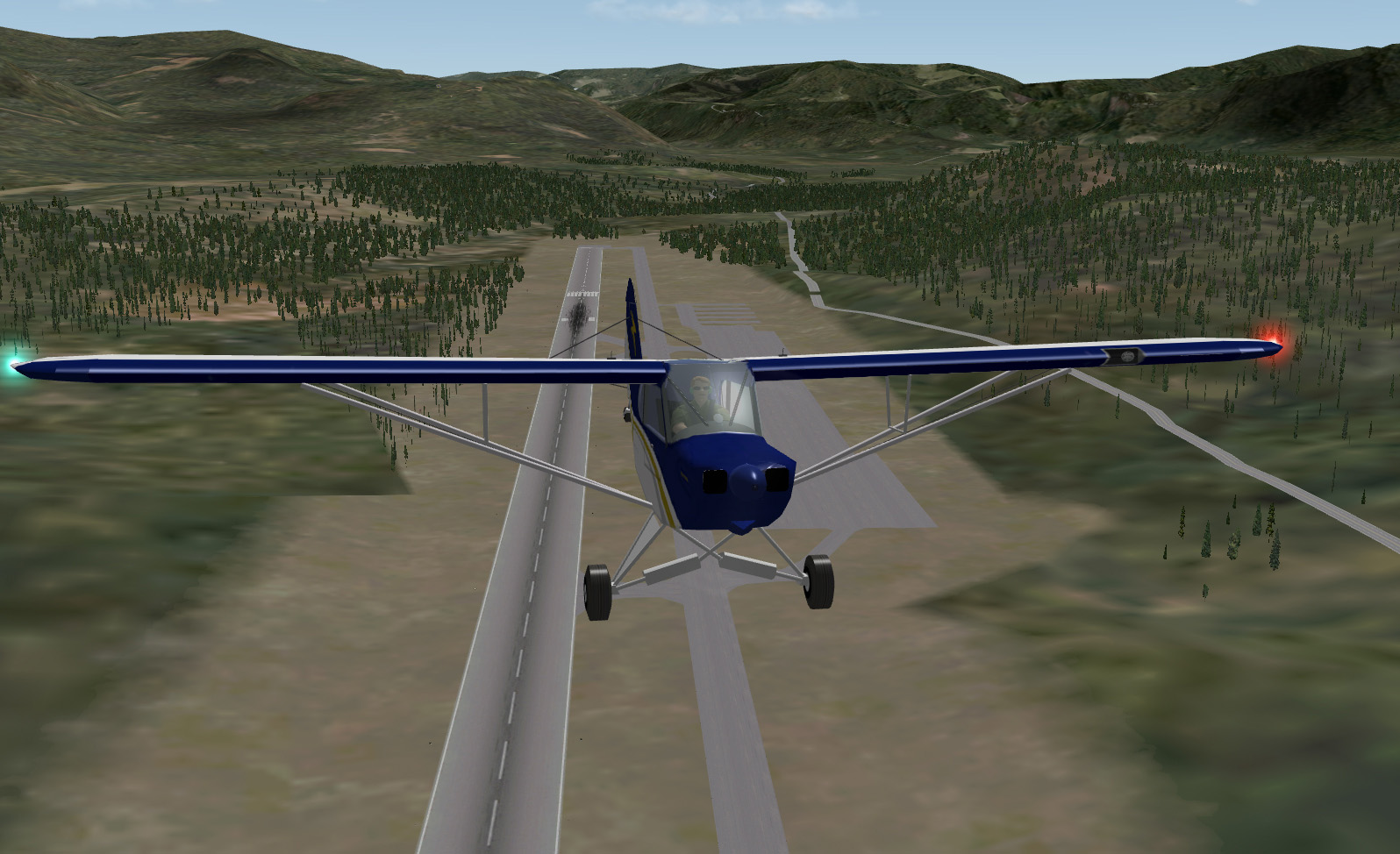 X-Plane - Piper Cub, front view